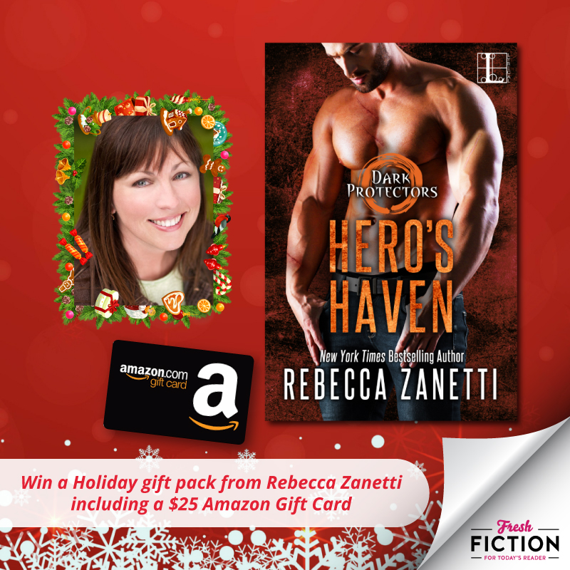 Win a Holiday gift package from Rebecca Zanetti! Includes three signed books, a book bag, swag plus a $25 Amazon Gift Card! Giveaway Image