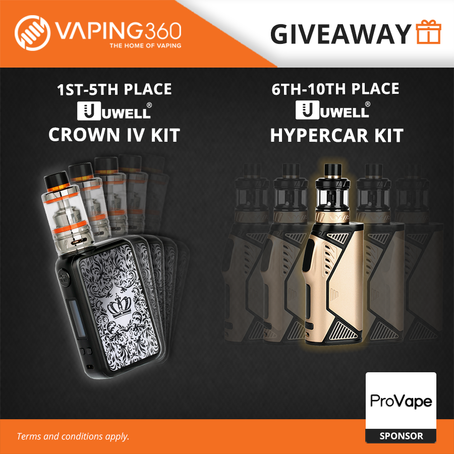 5 x UWELL Crown IV Kit and 5 x UWELL Hypercar Kit ProVape Giveaway Giveaway Image
