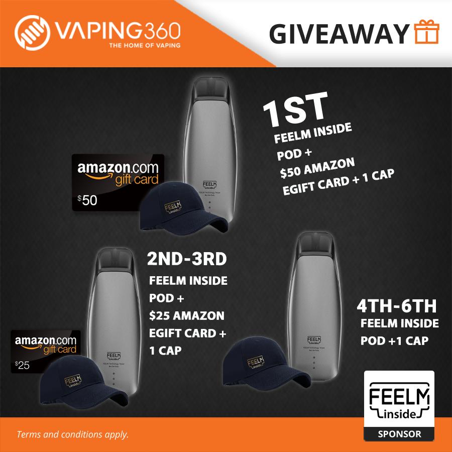 1x FEELM inside Pod + $50 Amazon eGift Card + Cap, 2x FEELM inside Pod + $25 Amazon eGift Card + Cap, 3x FEELM inside Pod + Cap Giveaway Image