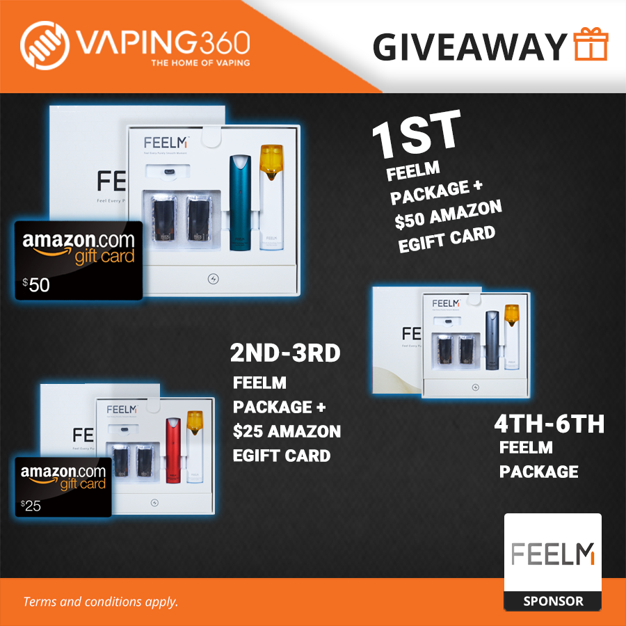 6 Winners: FEELM Package + $100, $50 and $25 Amazon eGift Card Giveaway Giveaway Image