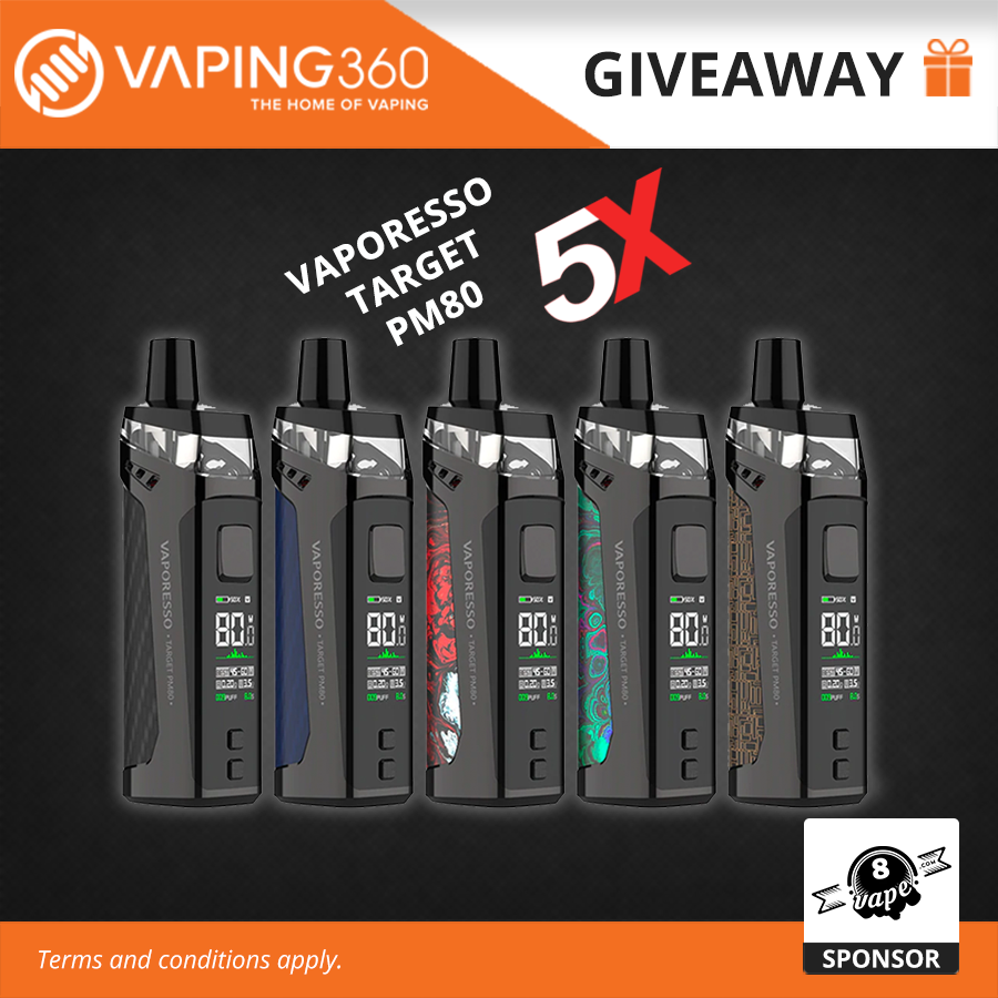 5 winners: Vaporesso Target PM80 (MSRP: $39.99) Sub Ohm Pod, 80W with a 2000mAh battery Giveaway Image